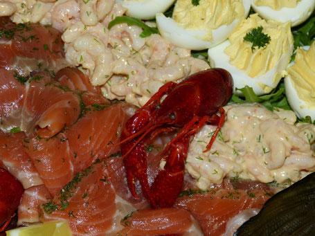 Eier und Meeresfrüchte