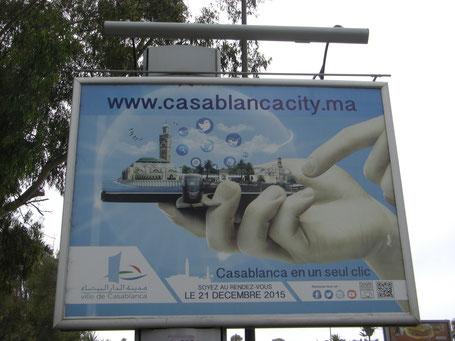 Publicité pour le lancement du site de la Ville de Casablanca, le 21 décembre 2015. Photo : Clarisse Fabrèges