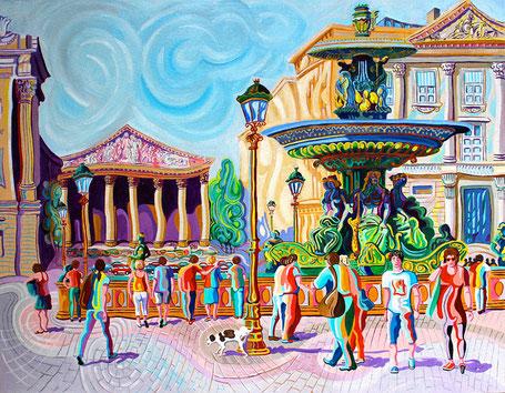 PLAZA DE LA CONCORDIA (PARIS).Huile sur toile. 114 x146 x 3,5 cm.