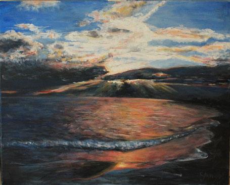 Sonnenuntergang am Meer 40 x 50 cm Acryl auf Leinwand