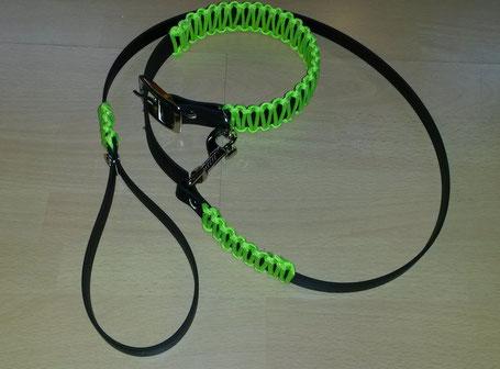 Biothane Hundehalsband mit Paracord, Paracord Halsband, Hundeset, Halsband Set, Leinen Set, Hundeleine Paracord, Paracord Hundehalsband, Paracord leine