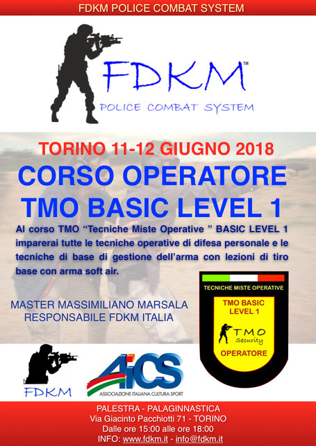 CORSO TMO LEVEL 1 TORINO GIUGNO 2018