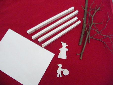 tasseaux, planches, branches et personnages découpés dans du bois