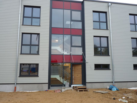 Barrier free blocks of flats in timber construction