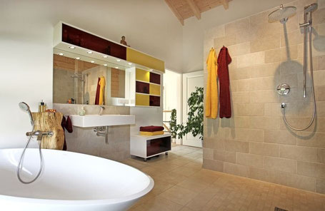Luxurious bathroom in contemporary flat pack home