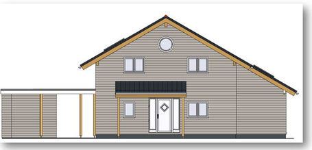 CAD drawing of the front elevation of the 3 bedroom eco house