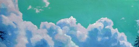 Wolken, türkis Öl auf Leinwand 40 x 140 cm