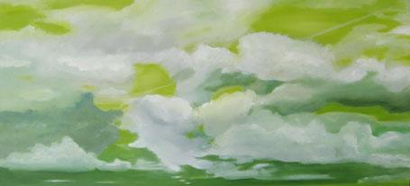 Wolken grün (groß) Öl auf Leinwand 70 x 140 cm