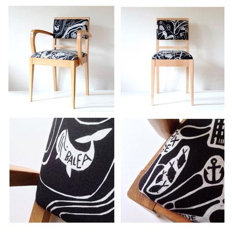 Collaboration avec Etienne Bois. Chaise avec tissu TOKIKO