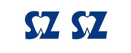zwei Embleme, aus S und Z, hinter dem Zahn liegend, der erst rundlicher, im zweiten Beispiel eckiger ist.