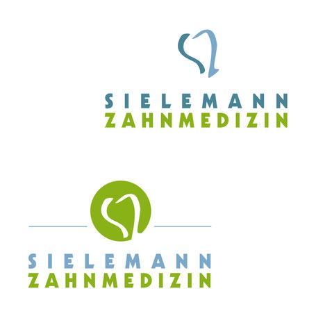 zwei Logo Designs, die leicht variieren mit dem Emblem, das aus handgeschriebene S und Z bestehen, die gemeinsam einen Zahn mit einer Wurzel darstellen.