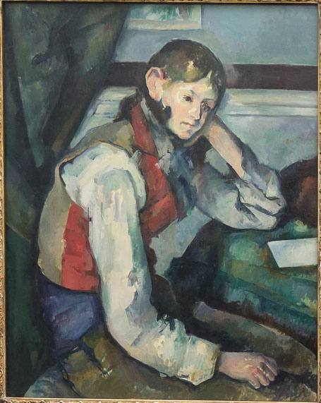 """Paul Cézanne, """"Il ragazzo con il panciotto rosso"""" (1880-1890)"""