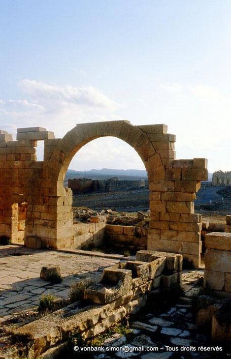 Haïdra (Ammaedara) : Édifice « à auges » - En arrière-plan, le rempart Nord de la citadelle byzantine et l'édifice à fenêtres