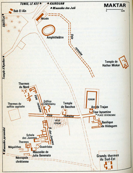 Makthar (Mactaris) : Plan du site