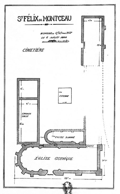 34 - Gigean - Saint-Félix de Montceau : Plan de l'abbaye - France