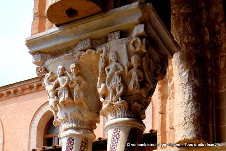 Cloître des Bénédictins (Monreale) : Dragons  et Serpents (Chapiteau (XIII°)) - Sicile - Italie