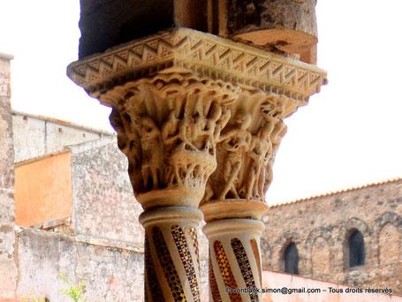 Cloître des Bénédictins (Monreale) : Banquet et danse de Salomé (Chapiteau (XIII°)) - Sicile - Italie