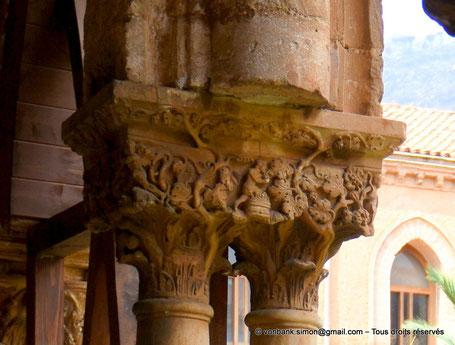 Cloître des Bénédictins (Monreale) : Vendange (Chapiteau (XIII°)) - Sicile - Italie