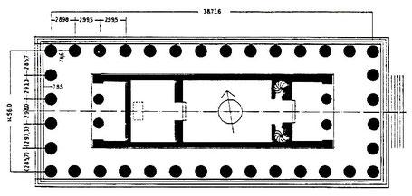 Italie - Sicile - Sélinonte : Plan du temple A dédié à Castor et Pollux