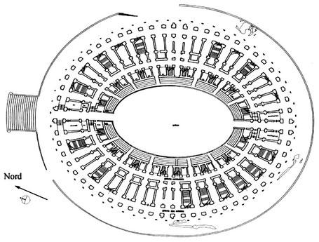 Arles (Arelate) : Plan du rez-de-chaussée de l'amphithéâtre (relevé A.-C. Perrot)