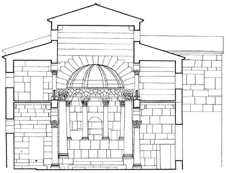 Haïdra (Ammaedara) : Restitution de l'église de la citadelle byzantine -Basilique III-