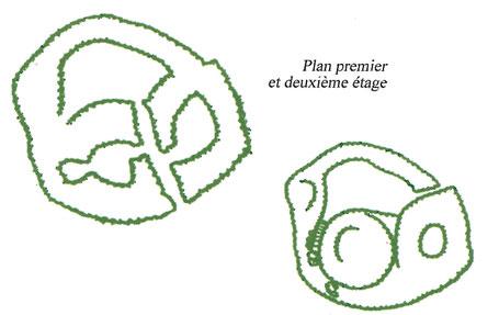 Nuraghe Majori (Sardaigne) : Plan premier et second niveau