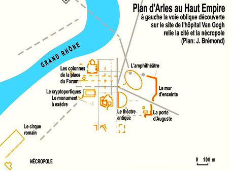 Arles (Arelate) : Plan d'Arles au Haut-Empire