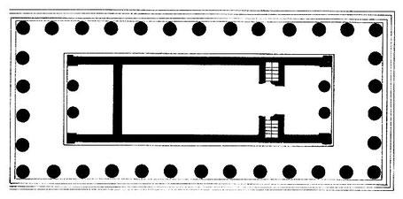 Italie - Sicile - Agrigente : Plan du temple D dédié à Héra (Junon) (Vallée des temples)