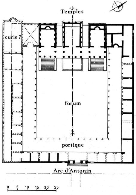 Sbeïtla (Sufetula) : Plan du forum et des temples capitolins