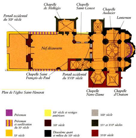 Arles - Alyscamps : Plan de l'église Saint-Honorat