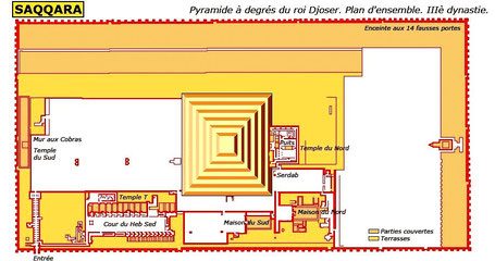 Saqqara - Plan d'ensemble du complexe funéraire de Djoser (III° dynastie)