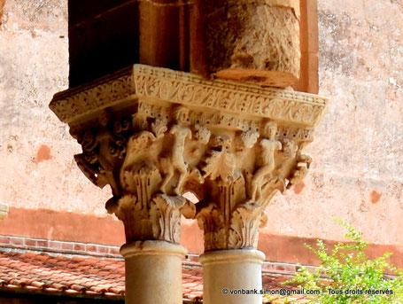 Cloître des Bénédictins (Monreale) : Adam et Ève (Chapiteau (XIII°)) - Sicile - Italie