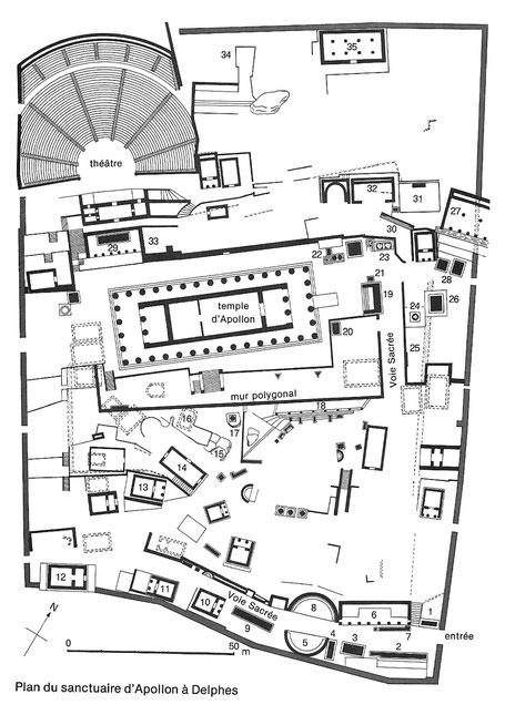 Delphes : Plan du sanctuaire d'Apollon (Grèce)