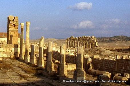 Haïdra (Ammaedara) : Édifice à fenêtres, vu depuis l'église de l'évêque Melleus -Basilique I-