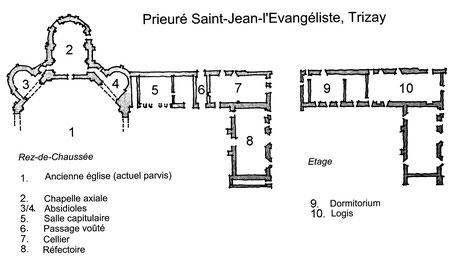 17 - Trizay : Plan du Prieuré Saint-Jean l'Évangéliste