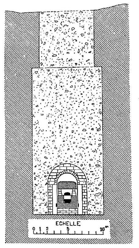 Saqqara - Tombes Perses : Plan/Coupe de la Tombe de Psammétique (médecin-chef, XXVI° dynastie) - Alexandre Barsanti