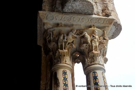 Cloître des Bénédictins (Monreale) : Êtres humains au travail (Chapiteau (XIII°)) - Sicile - Italie