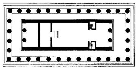 Italie - Sicile - Agrigente : Plan du temple F dit de la Concorde (Vallée des temples)