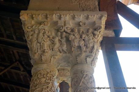 Cloître des Bénédictins (Monreale) : Voyage et adoration des Rois Mages (Chapiteau (XIII°)) - Sicile - Italie