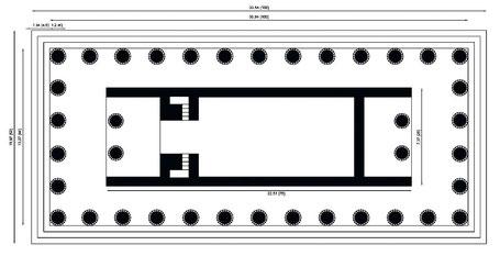 Italie - Sicile - Agrigente : Restitution - Plan du temple I dit des Dioscures (Castor et Pollux) (Vallée des temples)
