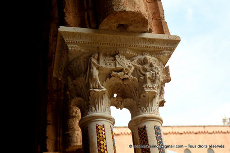 Cloître des Bénédictins (Monreale) : Chapiteau de la dédicace (Chapiteau (XIII°)) - Sicile - Italie