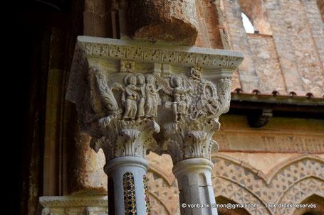 Cloître des Bénédictins (Monreale) : Femmes pieuses au Sépulcre (Chapiteau (XIII°)) - Sicile - Italie