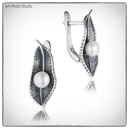 ювелирные изделия - серебряные серьги с жемчугом
