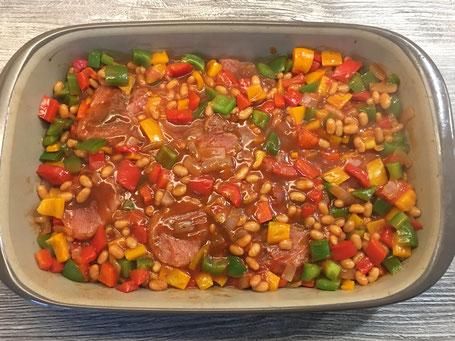 Ofenhexe von Pampered Chef mit Filet und Gemüse