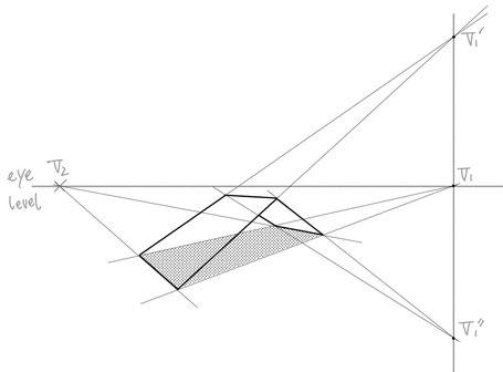 途中で傾斜の変わるもののパース作画④