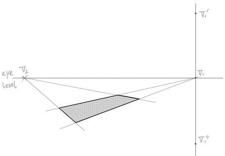 途中で傾斜の変わるもののパース作画②