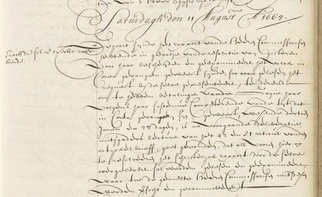 Resoluties van de Heren XVII 11 augustus 1668. (Bron NA Archief 1.04.02.106)