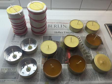 die frisch gegossenen Kerzen müssen auskühlen