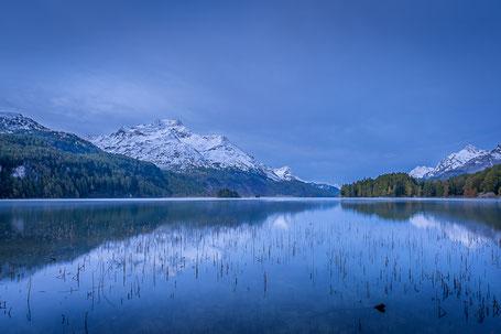 Blaue Stunde früh morgens am Silsersee mit leichtem Morgennebel über dem Wasser
