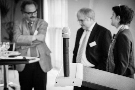 Morbi-RSA Symposium (v.l. Dr. Robert Paquet, Prof. Dr. Jürgen Wasem, Barbara Steffens)